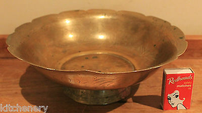 Brass Bowl Etched Pedestal Footed Decorative Scallop rim 24cm diameter Vintage x