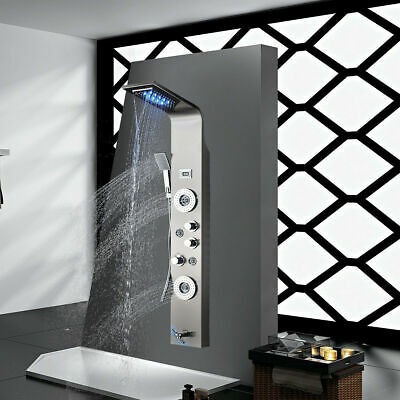 ELLO&ALLO Stainless Steel Shower Panel Tower System,LED Rainfall Waterfall Showe
