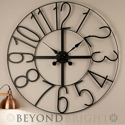 Large Wall Clock 100cm NUMBERS Metal Industrial Iron Vintage French Provincial