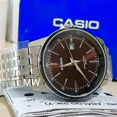 Casio MTP-1344AD-5A1 Mens Collection Brown Dial Silver Watch With Date Men's New