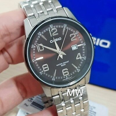 Casio MTP-1344AD-5A2 Mens Collection Brown Dial Silver Watch With Date Men's New
