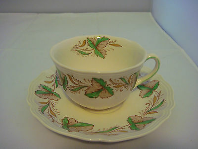 Royal Doulton Hereford Cup & Saucer Made in England #D.6165. White with Leaves