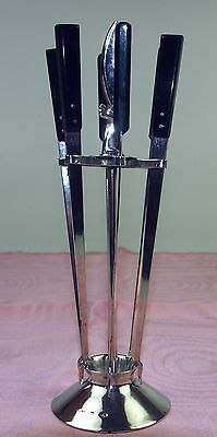 Set 6 Skewers Appetizer And Base. Silver Punched. Bagués. España.circa 1950