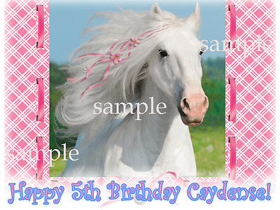 Pink HORSE Edible ICING Image Birthday CAKE Topper Personalized Decoration