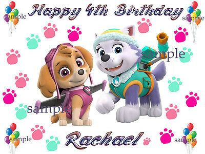 Paw PATROL Edible Photo CAKE Topper Personalized ICING Image Decoration
