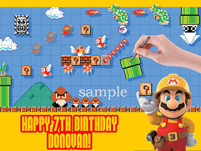 MARIO Maker Edible CAKE Topper Decoration Personalized ICING Image