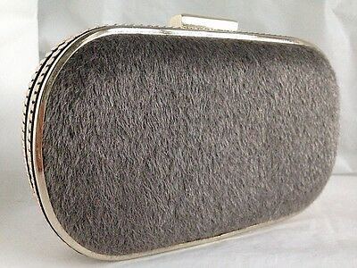 New Grey Black Faux Fur Hard Box Evening Day Clutch Bag Silver Stud On Sale