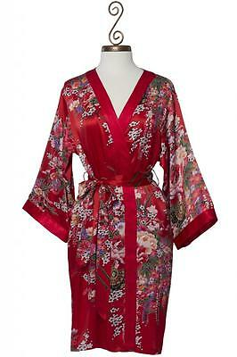 100% Silk, Women's Short Red Robe/wrap with Kimono Collar- Imperial's Bouquet