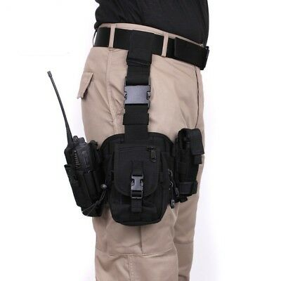 Black Drop Leg Utility Tactical Rig MOLLE Compatible Pouch Rothco 10750