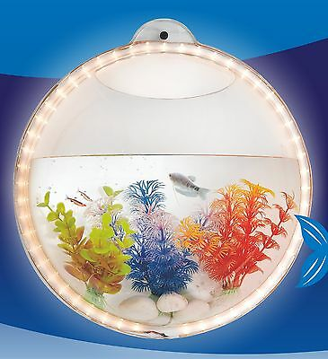 Wall Hanging Mount Beta Fish Bubble Aquarium Bowl Tank with LED light