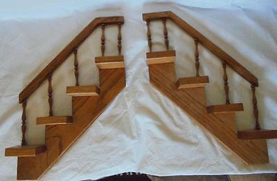 Pair 2 Vintage Hand Made Oak Wood What Not Shelf Staircase Bannister
