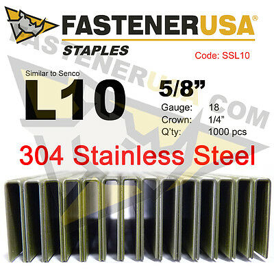 "L Staples L10 Stainless Steel 18 gauge 1/4"" crown - 5/8"" length (1000 ct)"