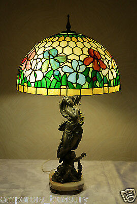 Early 20th Century Spelter Statue of a Woman with Glass Shade and Marble Base