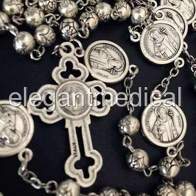SILVER Rose bead St.Benedict Rosary & Italy Crucifix Cross catholic necklace