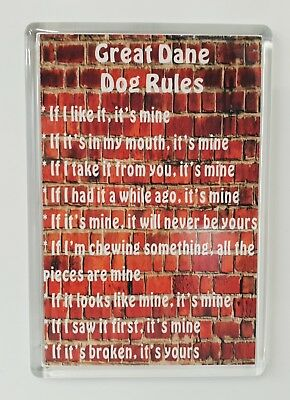 GREAT DANE DOG RULES - IT'S MINE! Funny Fridge Magnet - Ideal Present/Gift