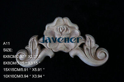 10x10cm Wood Carved Corner Onlay Applique Flower Fitment Unpainted A11 QTY.1