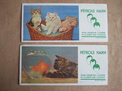 Lot 2 Buvards Petrole Hahn Chat Chatons Poisson Rouge