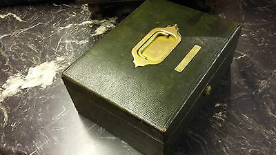 HANDSOME VICTORIAN GREEN LEATHER DEEDS BOX by LEUCHARS & SON PICCADILLY. RB