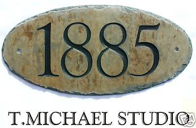 CARVED SLATE ADDRESS Plate/House/Sign/Plaque/Number/Stone/Marker #1CW