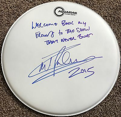 Carl Palmer ASIA Emerson Lake & Palmer Signed Autographed Inscribed DRUMHEAD