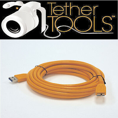 Tether Tools CU5454 USB3 Male to Micro-B SuperSpeed Cable 15ft. Hi-Vis Orange.