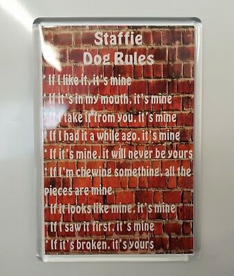 STAFFIE DOG RULES Novelty/Funny Fridge Magnet - Ideal Present/Gift