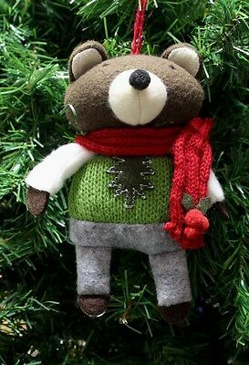 HANDCRAFTED PLUSH WOODLAND BEAR DRESSED UP w/ SCARF CHRISTMAS TREE ORNAMENT