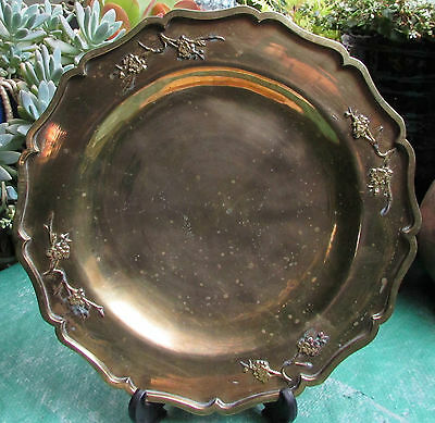 Stunning Vintage Large Chinese Brass Platter Charger Prunus Flowers