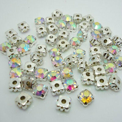 SS28 Rhinestone - Silver Plated Claw Point Back Sew On Crystal AB Glass Stones