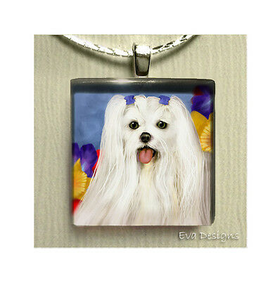 Maltese Dog Flowers Necklace Charm Jewelry Pet Gift Art Glass Tile Pendant