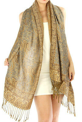 Fashion Outlined Paisley Pashmina Scarf Shawl Wrap 24 COLORS