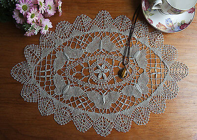Vintage Style Butterfly Hand Bobbin Lace Doily Doilies Mat Oval 32x46CM Teal