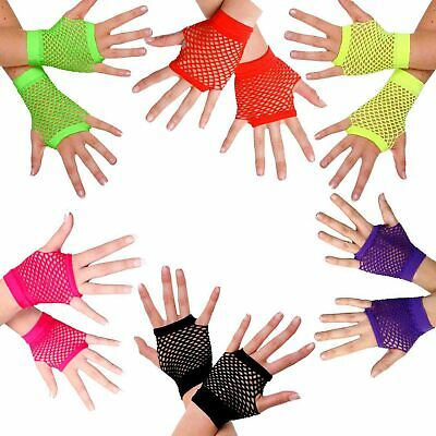80s Fingerless Fishnet Gloves Short Neon Pink Purple Yellow Green Black Red