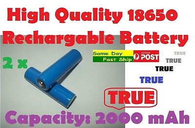 .2 x New 18650 3.7V True 2000mAh (NOT fake) rechargeable Li-ion battery AU Local