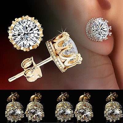 Gold Plated Stud Crown Round Crystal Earrings 6mm CZ Cubic Zirconia Silver N