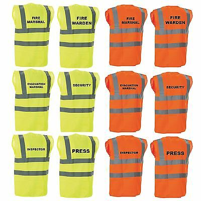 New Hi Vis Hi Viz Vest Fire Marshal,guide,staff,inspector,press,security,cleaner