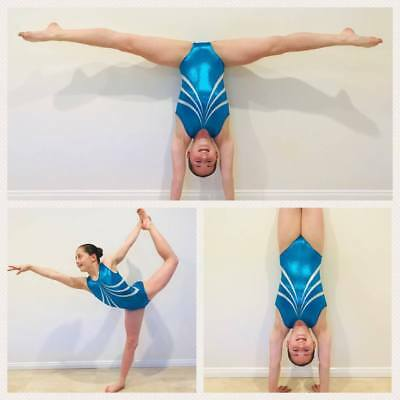 NEW TURQUOISE & WHITE SHINY FOIL DIAMONTES CS 46cm Sz 6 Gymnastics Leotard