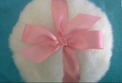 soft body or glitter powder puff, 8 inches, with dark pink  bow