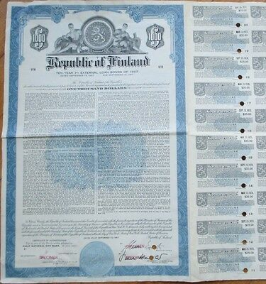 1967 SPECIMEN Bond Certificate: 'Republic of Finland' - Blue