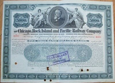1905 Railroad Bond Certificate: 'Chicago, Rock Island & Pacific Railway Co.'