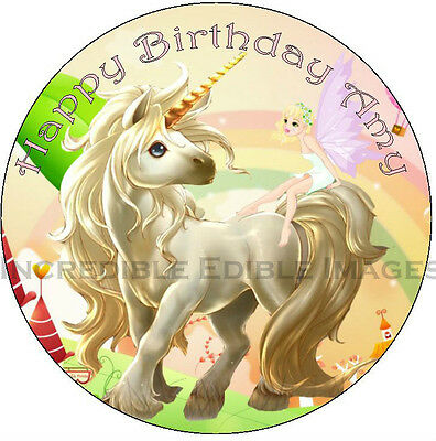 Unicorn Edible ICING Cake Topper Personalised Party Decoration