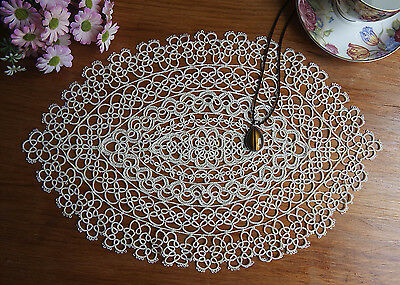 Exquisite Fine Yarn Hand Tatting Lace Cotton Doily Placemat Oval 28x42CM Ecru