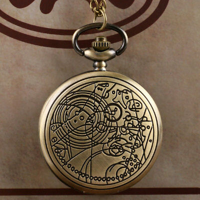 Antique Pattern Full Hunter 3Colors Doctor Who Pocket Watch+Necklace Chain 80 cm