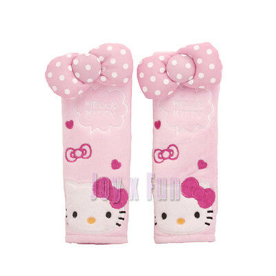 New 17cm Cute Hello Kitty Car Accessory Seat Belt Covers Soft Pads 2pcs Set Gift