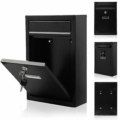 Black Steel Lockable Wall Mounted Letter Post Postbox Letterbox Mail Box Mailbox