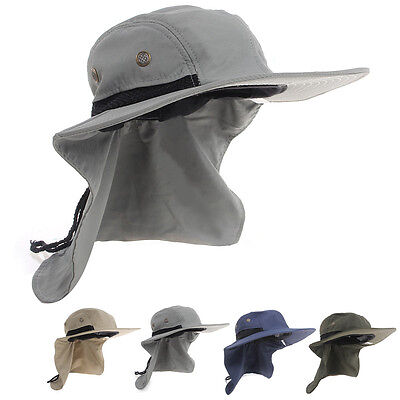 Fishing Hiking Boonie Hunting Snap Hat Brim Ear Neck Cover Sun Flap Cap Outdoor
