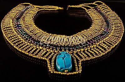 Golden Egyptian Hand Made Vivid Beaded Cleopatra Scarab Necklace Collar