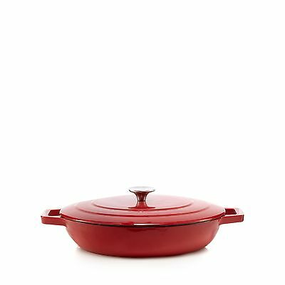 Home Collection Red 30Cm Shallow Cast Iron Casserole Dish From Debenhams