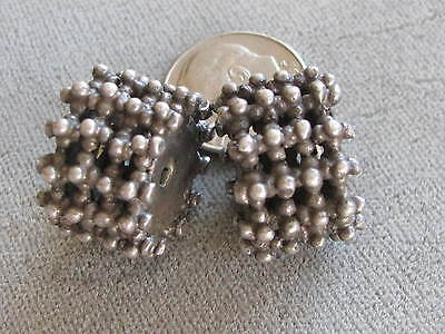 Pr  Antique Yemen Tribal Ethnic Silver Beads Hand Crafted 12.5x18mm