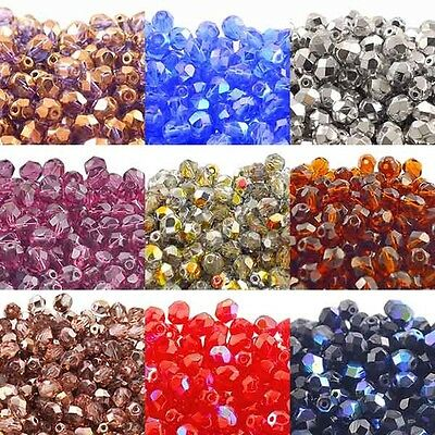 6mm Czech Glass Faceted Round Fire Polished Beads - Over 80 Colours x 50 Beads